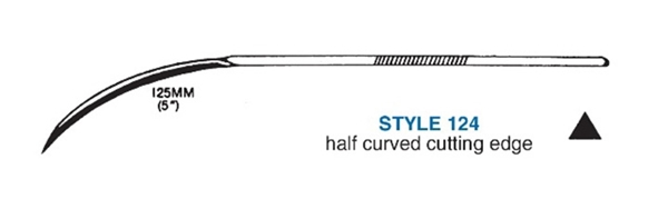 Picture of 125mm, Heavy Duty Half-Curved Suture Needle - Style 124-5